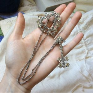 Vintage Arrow Heart Brooch Clear Rhinestones